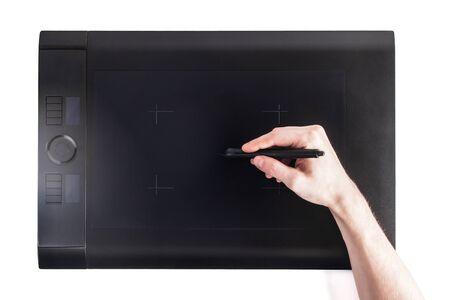 digitized: Graphic pen tablet with hand above