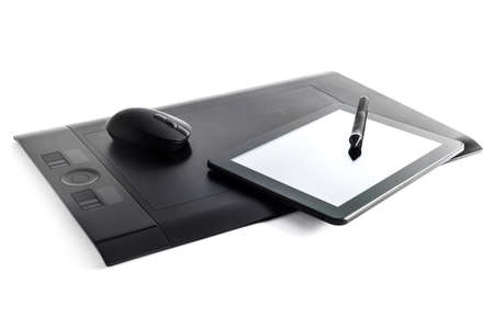 digitized: Graphic tablet pen on isolated background