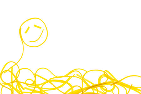 Swirls of cooked spaghetti. Spaghetti heart shape