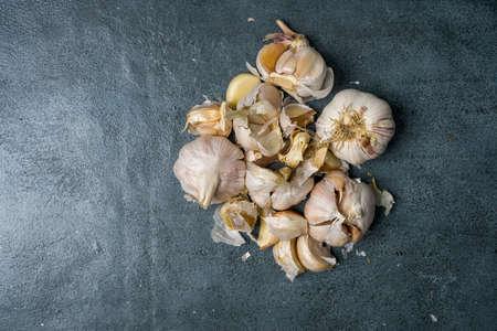 New harvest violet garlic on gray background Banco de Imagens