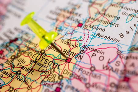 zoomed: Close-up of colored map of Europe zoomed in on Germany Stock Photo
