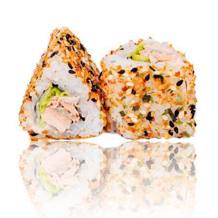 philadelphia roll: Sushi pieces collection, isolated on white background