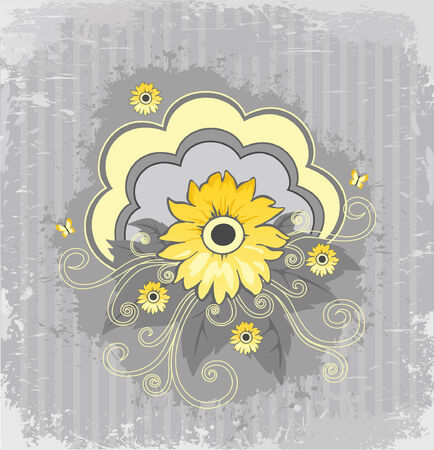 Beautiful yellow flower on an abstract background Vector