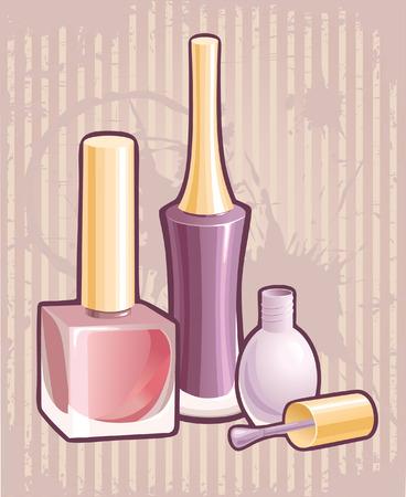 make up brush: Esmalte de u�as Vectores