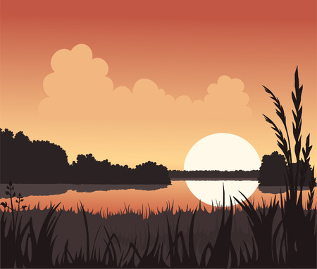 Sunset and Lake Illustration
