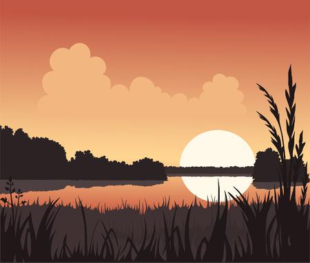 lake sunset: Sunset and Lake Illustration
