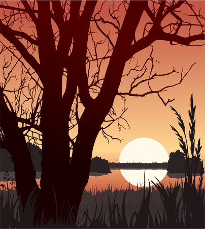 river vector: Sunset Illustration