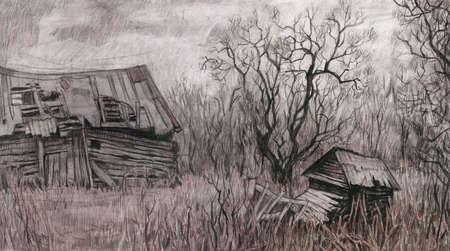 Paysage rural avec maison ancienne.