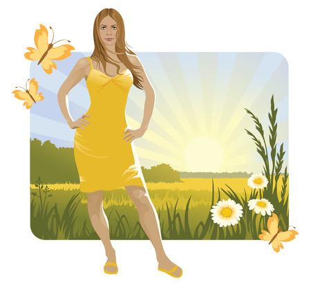 Sunny landscape and girl Vector