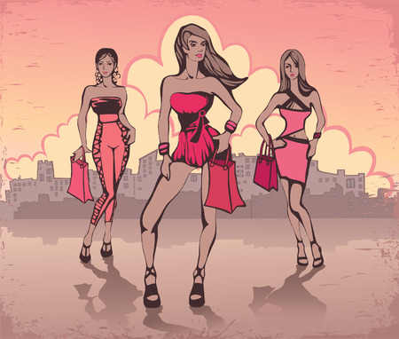Girls in the city. Shopping Vector
