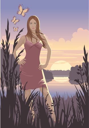 river vector: Sunset and girl Illustration