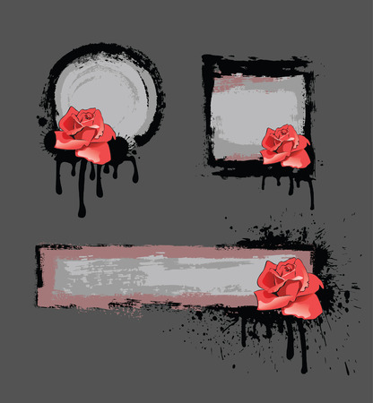 Grunge frame with rose Vector