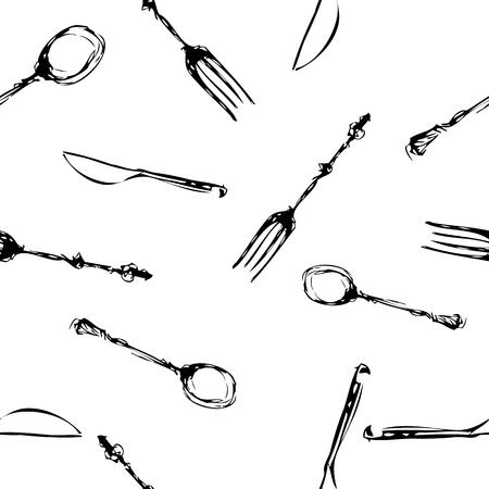 fine dining: cutlery set seamless pattern