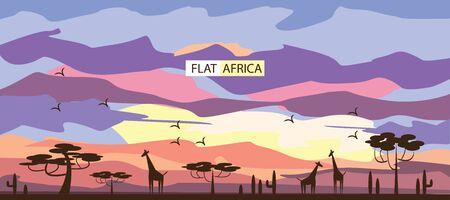 africa sunset: flat sunset in Africa , giraffes . background, vector