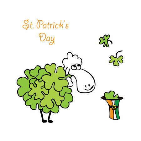 animal st  patricks day: sheep with clover. vector