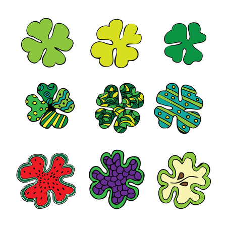 fortunate: a set of colored cloverleaf. vector