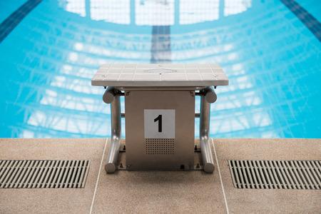 no1: Swimming pool starting block No.1 Stock Photo