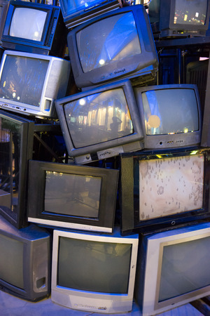 Pile of old televisions