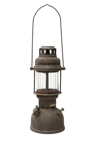 hurricane lamp: Old and rusty hurricane lamp isolated on white background Stock Photo