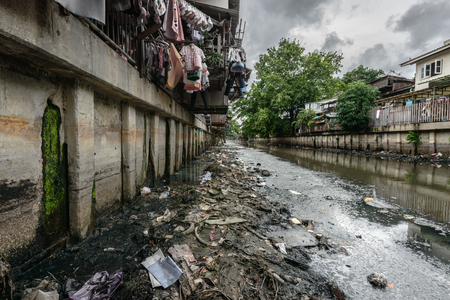 polluted: Polluted canal in Bangkok