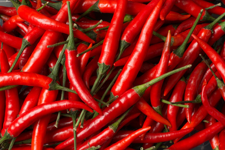 Close-up view of red chillies