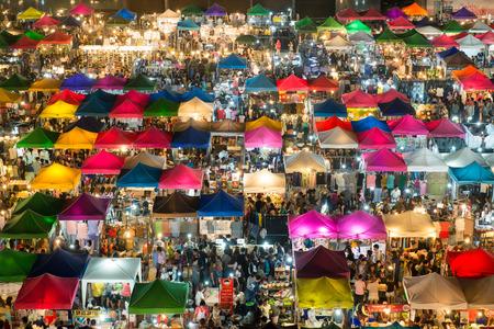 bangkok: Night market in Bangkok, view from above Editorial