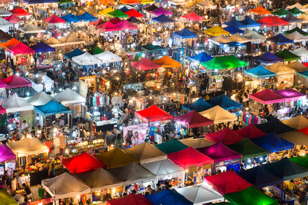 January 23, 2015 - Bangkok, Thailand: View from above of a night market in Huay Khwang district, Bangkok.