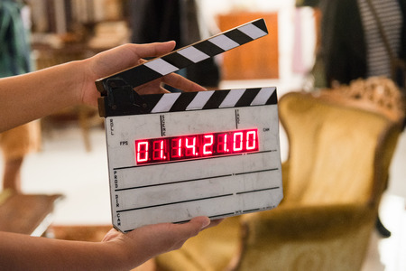 camera: Movie production digital clapper board Stock Photo