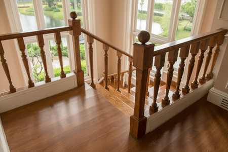 second floor: Wooden staircase on second floor Stock Photo