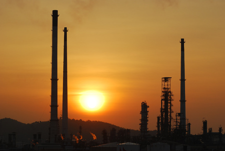 petrolium: Sunset behind oil refinery plant