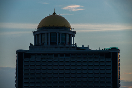 Morning view of Sirocco restaurant on the top of State Tower building.