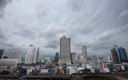 Cloudy view of business zone in Bangkok, Thailand Редакционное