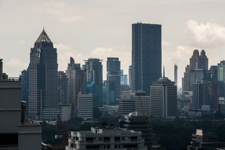 Cityscape of Bangkoks residential buildings in the heart of Bangkok, Thailand.
