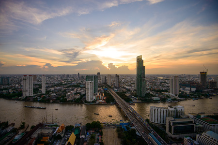 Cityscape around Chao Phraya river in Bangkok, Thailand.
