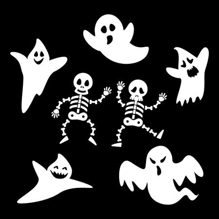 caras graciosas: Fantasmas Set y el esqueleto de Halloween d�a en el fondo negro. Ilustraci�n del vector. Se puede usar de la bandera, folleto, folleto, tarjeta de felicitaci�n. Vectores