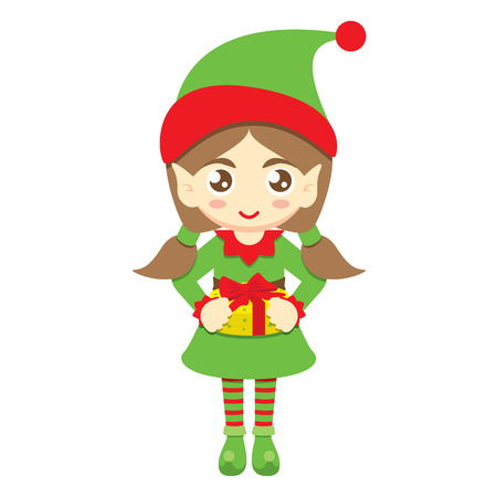 give a gift: Santas elf. Cute elf girl give a gift on white background. Vector illustration. Can use of banner, brochure, flyer, greeting card. Illustration