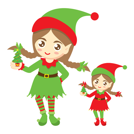 elf hat: Santas elf. Cute elf girl with a small christmas tree on a white background. Vector illustration. Can use of banner, brochure, flyer, greeting card.