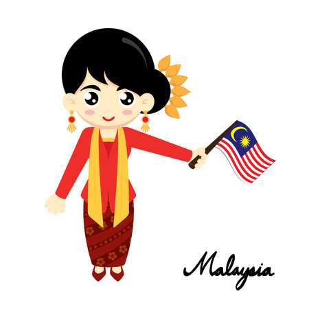 national: Little Girl Wearing Traditional Dress and Holding Malaysia flag. Vector illustration. Illustration