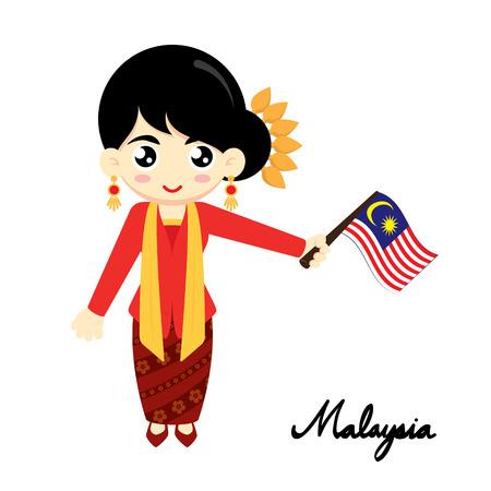 bandera: Niña con vestido tradicional y la bandera de la explotación agrícola de Malasia. Ilustración del vector.