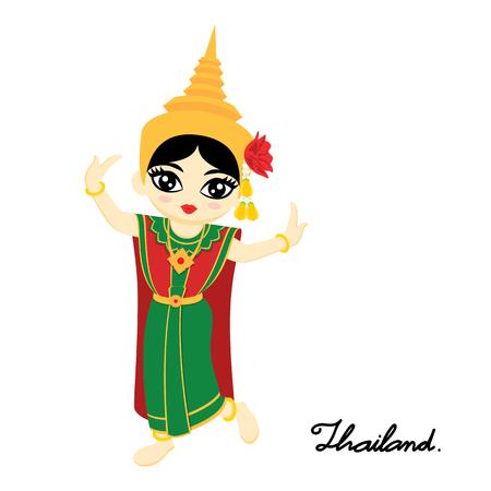 흰색 배경에 타이어 댄스 드레스를 입고 귀여운 태국 소녀. 타이어 댄스 (Chuichai). 벡터 일러스트 레이 션.