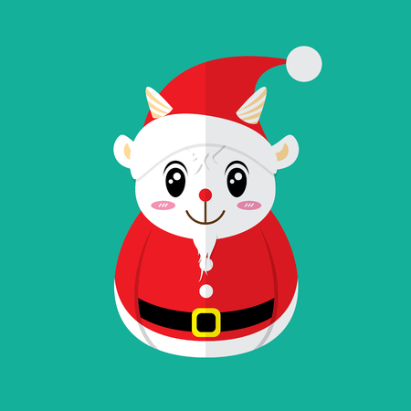 christmas symbol: Santa Goat Icon. Christmas symbol flat design. Vector illustration. Can use of banner, brochure, flyer, greeting card.