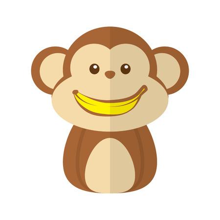 white smile: Cute monkey with a banana smile on white background. Icon symbol flat design. Vector illustration. Illustration