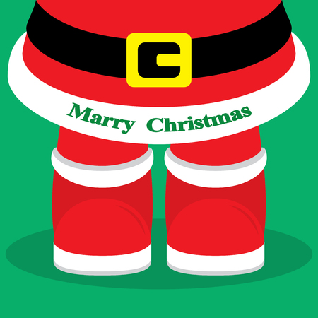 christmass: Christmass day card with santa legs on green background. Vector illustration. Can use of banner, brochure, flyer, greeting card. Illustration