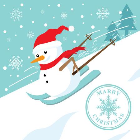narciarz: Snowman na nartach w dół stoku górskim. Boże Narodzenie jest. Ilustracji wektorowych. Mogą korzystać z transparentu, broszury, ulotki, karty z pozdrowieniami.