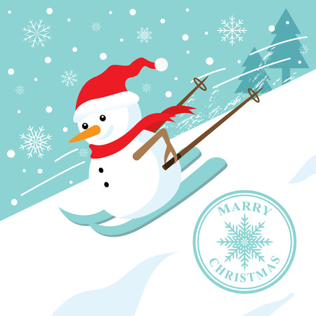 cartoon smile: Snowman skiing down a mountain slope. Christmass day. Vector illustration. Can use of banner, brochure, flyer, greeting card. Illustration