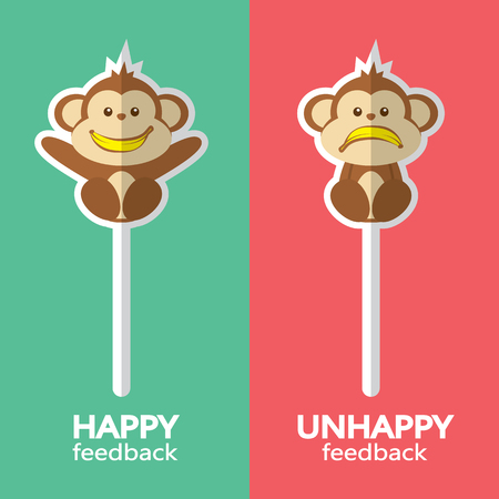 appraise: Monkey sign. Vector illustration of happy and unhappy feedback concept. Flat design. Illustration