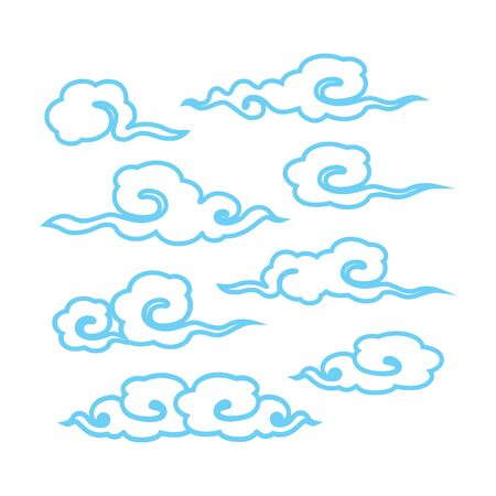 Cloud style chinese on white background. Icon symbol design. Vector illustration. Ilustrace