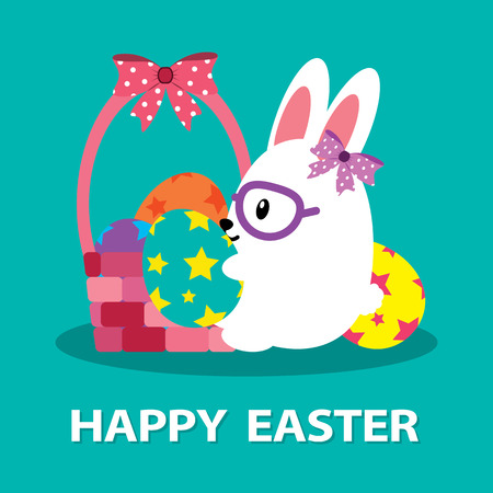 Easter bunny with Easter basket full of decorated Easter eggs. Cartoon vector illustration. Ilustrace