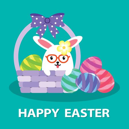 Easter bunny in the basket with Easter eggs. Cartoon vector illustration.