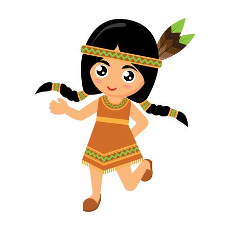 indios americanos: Los indios americanos de chicas bailando en el fondo blanco. Ilustración del vector.